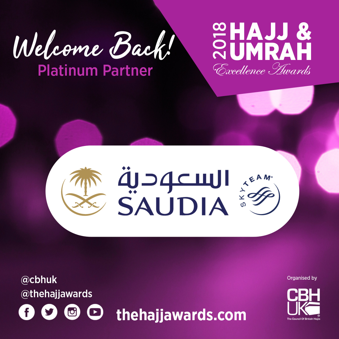 Saudia (Saudi Arabian Airlines) are Platinum Sponsors at the Hajj & Umrah Awards 2018